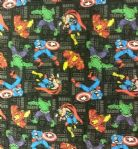 NEW! AVENGERS BLACK BG HULK IRON MAN CAPTAIN AMERICA THOR SPIDERMAN MARVEL- Fabric - Price Per Metre